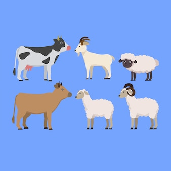 Set of animal farming cute cartoon illustration