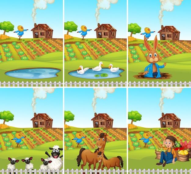 Set of animal and farmland