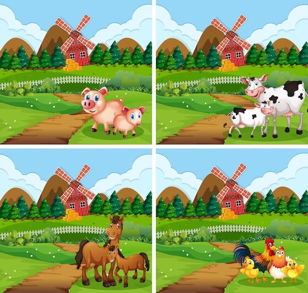Set of animal at farmland