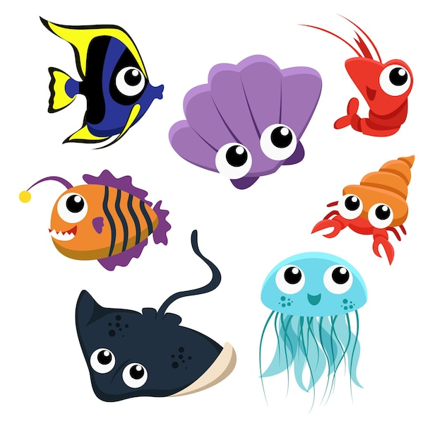Set di gruppo di animali di creature marine, pesci, conchiglie, meduse, gamberetti, pastinaca su bianco