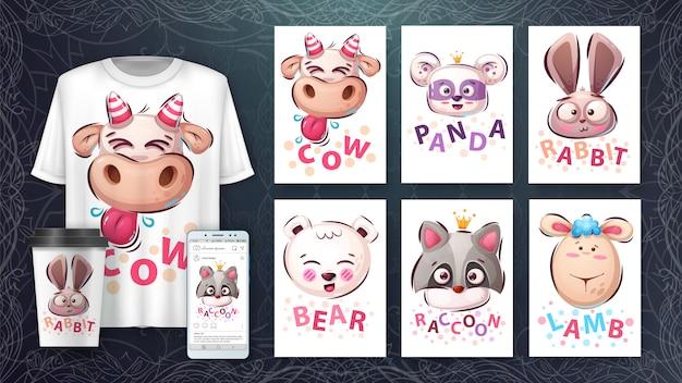 Set animal head - illustration and merchandising