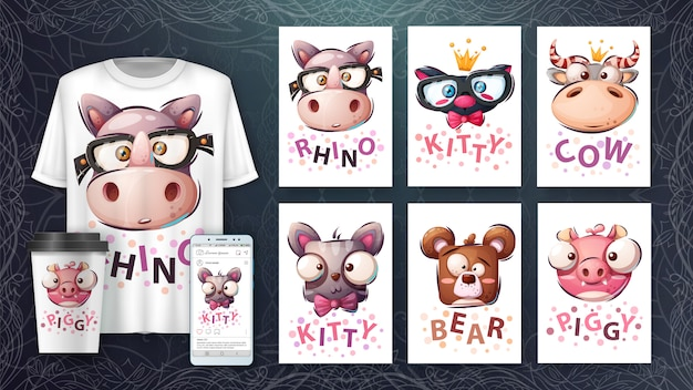 Set animal head - illustration and merchandising