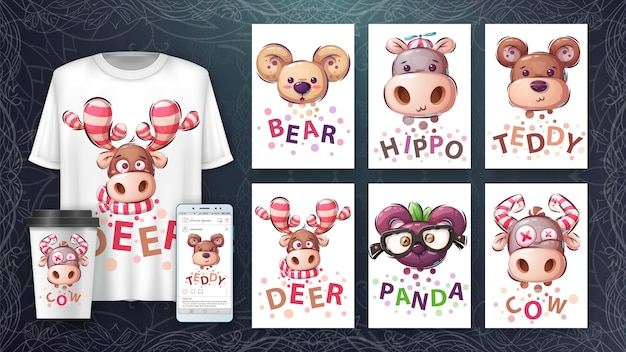 Set animal head - poster and merchandising.