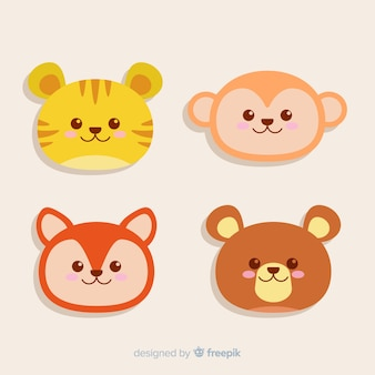 Set of animal heads: tiger, bear, fox, monkey. flat style design