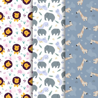 Set of animal lion elephant giraffe cute cartoon seamless pattern