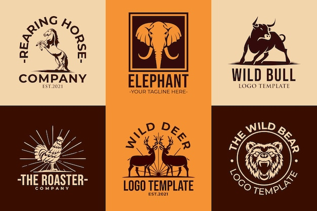Set of animal logo icon templates