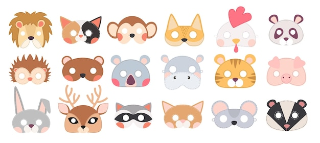 Set of animal masks, masquerade decor for costume party. headbands isolated on white background. face masking for halloween or xmas holidays. collection of design elements. cartoon vector illustration