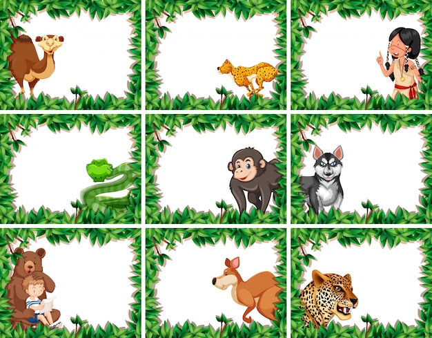 Set of animal on nature border