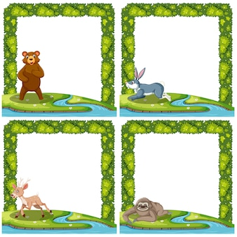 Set of animal in nature frame