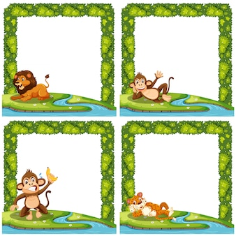 Set of animal nature frame