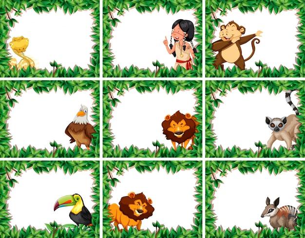Set di cornici di natura animale e persone