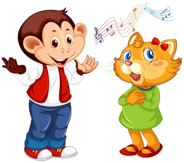 Set of animal perform music