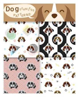 Set of animal seamless patterns with beagle dog