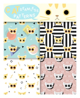Set of animal seamless patterns with cat