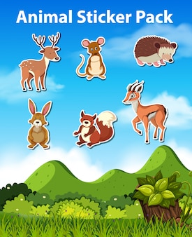 Set of animal sticker pack