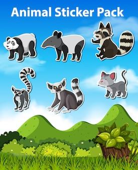 Set animal sticker pack