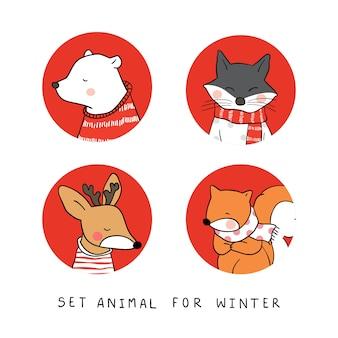 Set animal for winter bear wolf deer squirrel