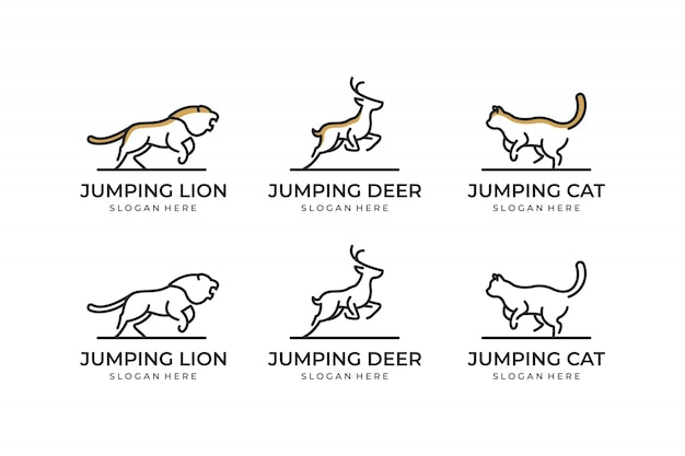 Set animal with line concept logo design inspiration