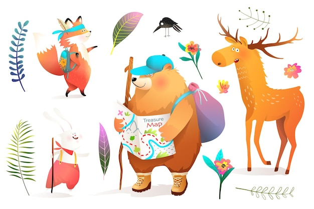 Set of animals in adventure on nature