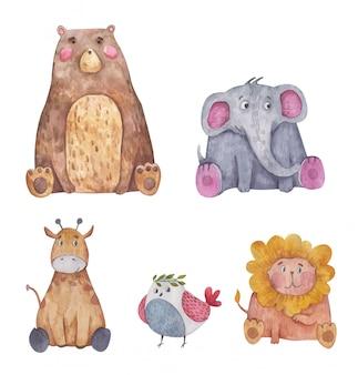 Set of animals bear, bird, lion and elephant watercolor illustration on white background