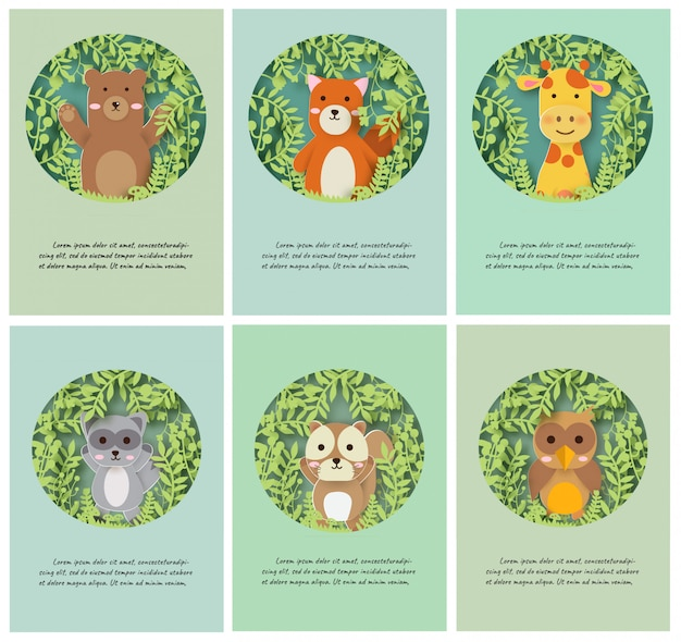 Set of animals cards in paper cut and craft style.