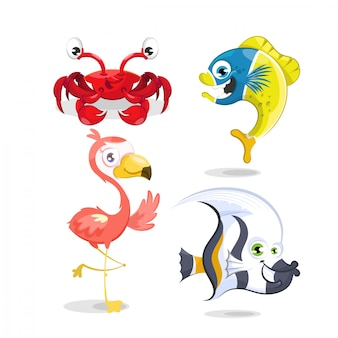 Set of animals, crab, fish and flamingo