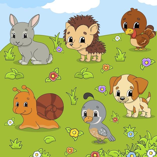 Набор животных милые герои мультфильмов домашнее животное клипарт
