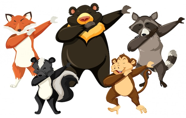 Set of animals dancing white background