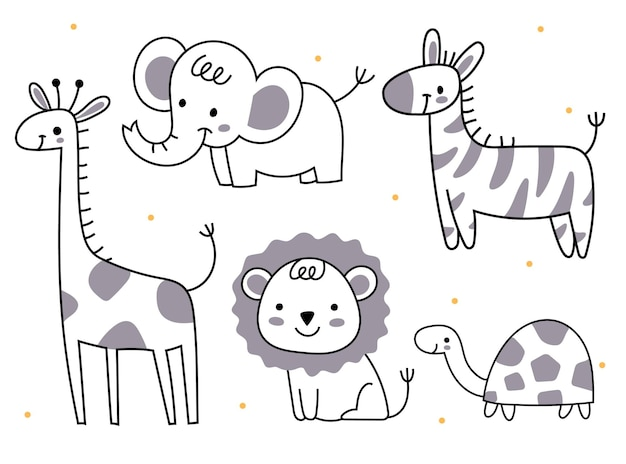 Set of animals in doodle styles elephant giraffe lion turtle zebra african animals for a child