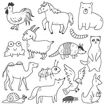 Set of animals doodle