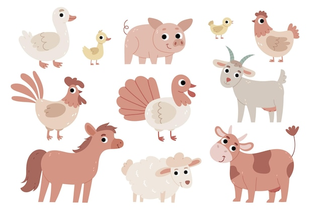 Set of animals on the farmgoose duckling pig chicken rooster turkey goat sheep horse