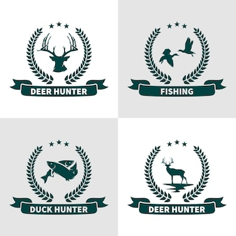 Set of animals hunting logo design