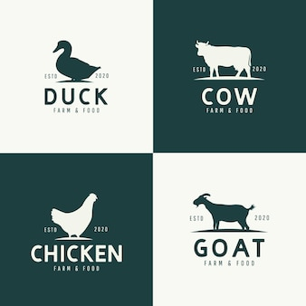 Set of animals logo design concept.
