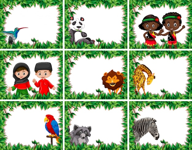 Set of animals and people in nature frame