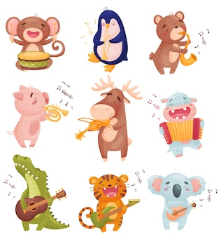 Set of animals playing musical instruments