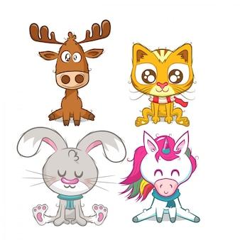 Set of animals, reindeer, unicorn, rabbit and cat