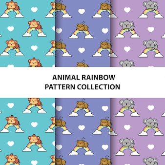Set of animals seamless patterns collection