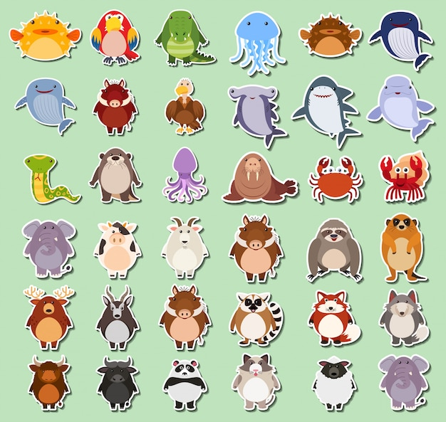 Set of animals sticker