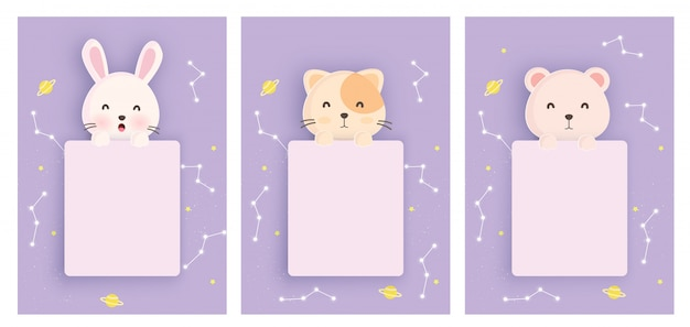 Set animals template cards with cute rabbit, cat and bear in paper card style for birthday card