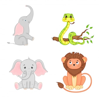 Set of animals in vector isolated on white background