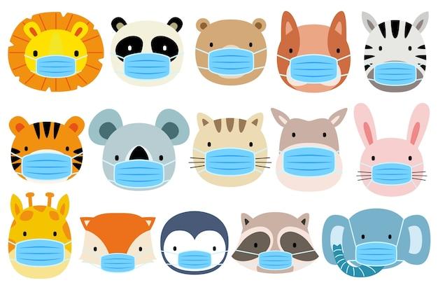 Set of animals wearing masks