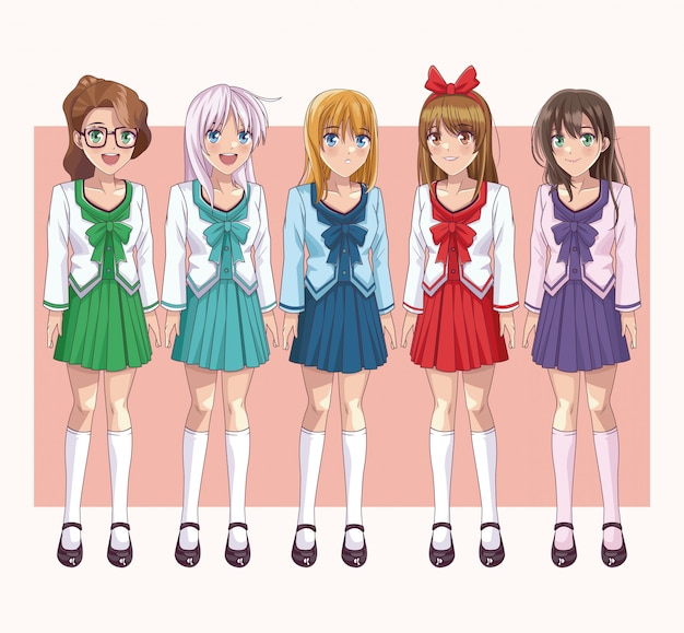 Set of anime young womens