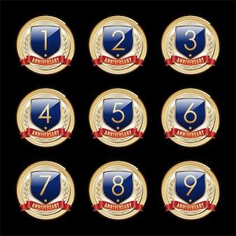 Set of anniversary badges blue shield