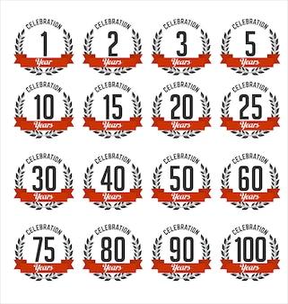 Set of anniversary badges