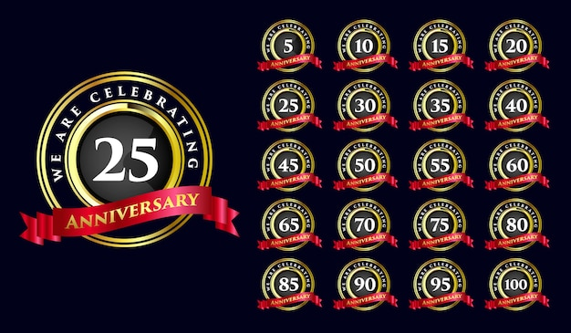 Set of anniversary birthday years milestone completion celebration round emblem