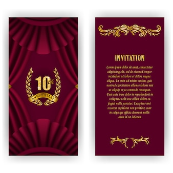 Set of anniversary card, invitation with laurel wreath, numbers.
