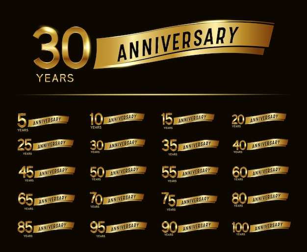 Set of anniversary celebration design template with gold ribbon