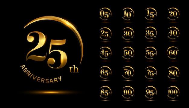 Set of anniversary celebration emblem design with shiny swoosh