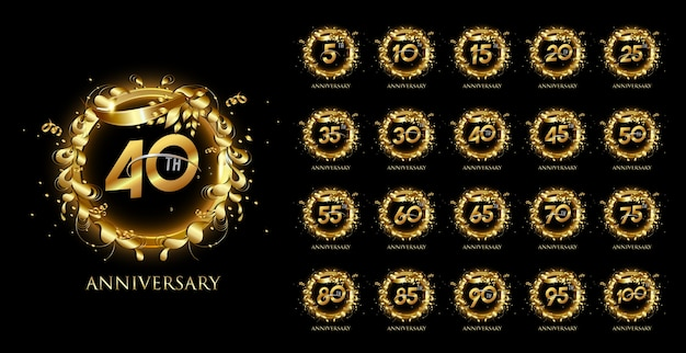 Set of anniversary circle emblems with gold ribbon and festive elements
