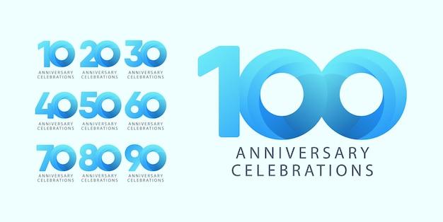 Установите концепцию логотипа дизайна годовщины.